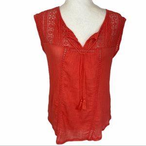 Lucky brand orange crochet sleeveless top, cotton